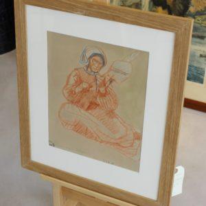Mathurin Méheut, La mère Alain au fusain, Sanguine et crayon sur papier, 30x25cm-Vendu