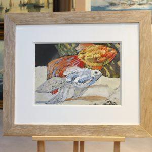 Mathurin MEHEUT, Etude de poissons, gouache, 21x28cm