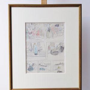 Mathurin Méheut, crayons sur papier, 31x23cm-Vendu