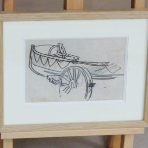 Mathurin Meheut, Canot sur chariot, fusain, 15x20cm