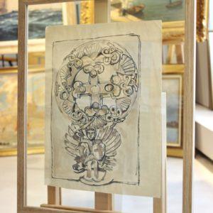 Mathurin MEHEUT, Mont St Michel, croquis de sculpture, crayon gras,32x22cm, disponible