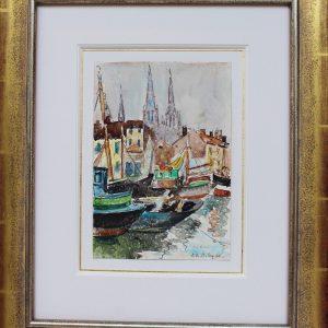 Pierre de Belay, le port d'Ostende, aquarelle, 25x18cm
