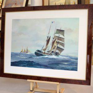 Roger Chaplet, Voiliers de pêche en pleine mer, gouache sur papier