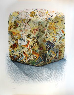 """César, """"Compression c artes postales anciennes"""",Lithographie n°19/150, 70x90cm"""