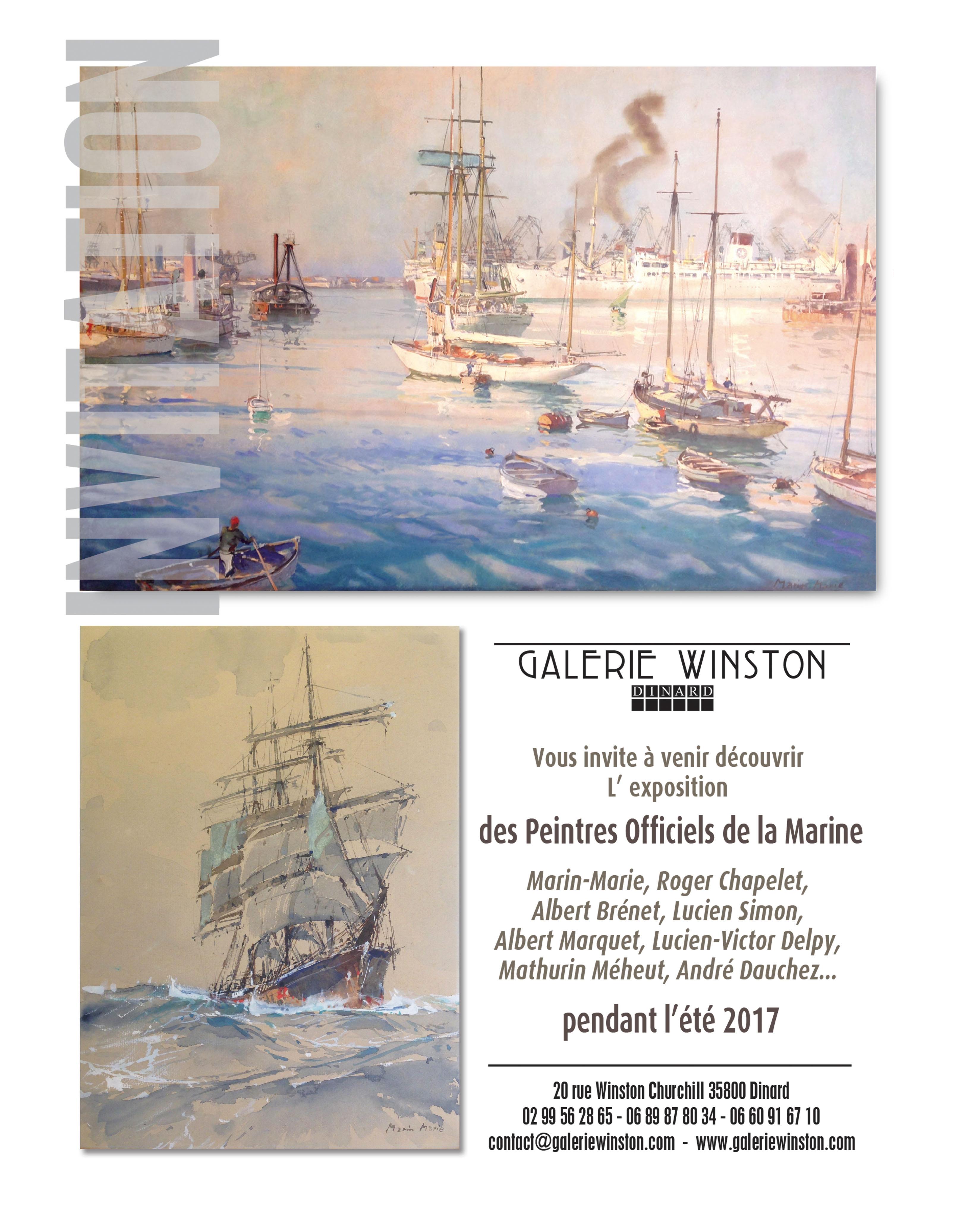 INVITATION EXPO PEINTRES OFFICIELS DE LA MARINE L210xH105mm 1906
