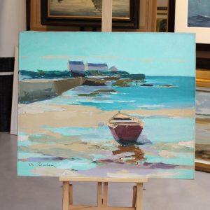 Albert TERKEN, Barque sur la plage, 1976,Huile sur toile, 50x61cm