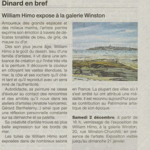 Ouest France, exposition William HIMO, le 02/12/17
