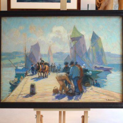 Henri BARNOIN, Tombereau sur la digue, le chargement du poisson, pastel - Disponible