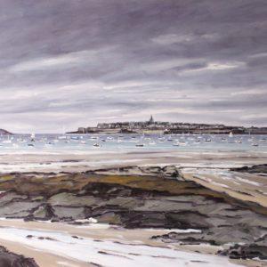 William Himo, Saint-Malo, huile sur toile, 100x81cm