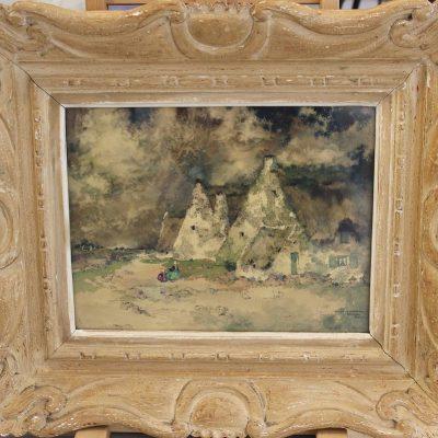 Ernest GUERIN, Chaumes du Morbihan, Bretagne, aquarelle