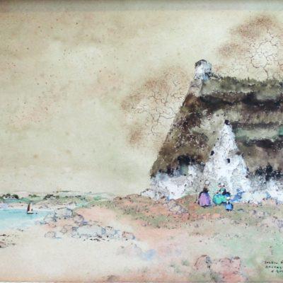 Ernest GUERIN, Soleil d'Automne en Bretagne, aquarelle