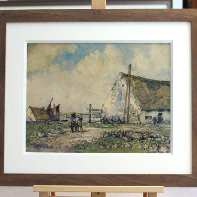 Ernest GUERIN, Petit port de pêche en Bretagne, aquarelle