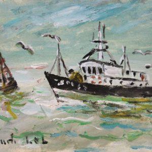 Fanch LEL, Chalutier vers St-Malo, Huile + acrylique