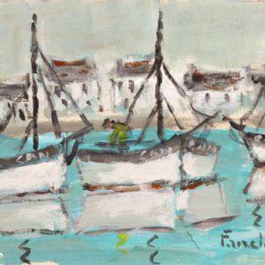 Fanch LEL, Cancale, le port, acrylique sur carton, 18x24cm