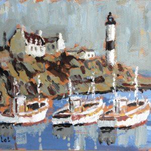 Fanch LEL, Moelan sur mer, le port, acrylique sur carton, 18x24cm