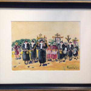 Fanch LEL-Pardon de St-Yves à Tréguier (les Avocats), gouache, 16x22cm, VENDU