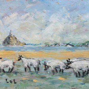 Fanch LEL, Moutons en baie du Mont, Acrylique sur carton