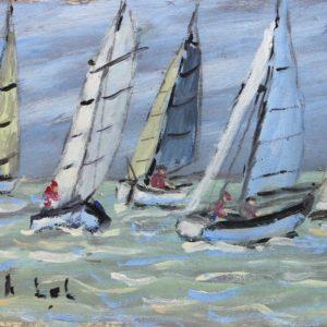 Fanch LEL, Régates au large de St-Malo, Acrylique sur carton