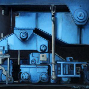 Pied de portique bleu, huile sur toile, 81x60cm