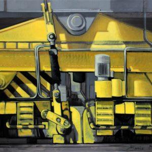 Pied de portique jaune, huile sur toile, 81x60cm