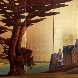 De la Lorraine vers St-Malo, huile sur toile, 150x150cm (paravent)