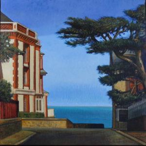 Marie Détrée, Vue sur mer, huile sur toile, 60x60cm