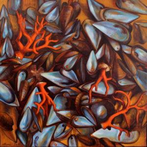 Marie Détrée, Miscellanées conchylicoles 2, huile sur toile, 80x80cm