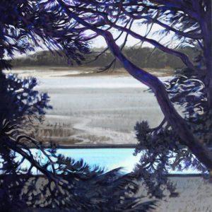 La piscine du Prieuré, huile sur toile, 50M,116x73cm
