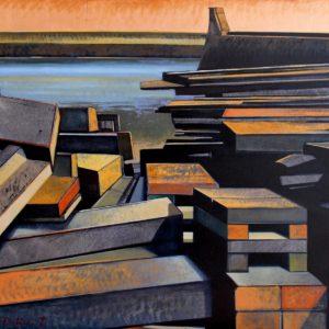 Les bois de Saint-Vaast, huile sur toile, 60M, 130x81cm,