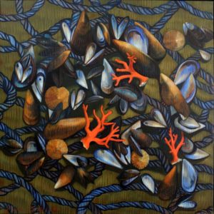 rie Détrée, Miscellanées conchylicoles 1, huile sur toile, 80x80cm