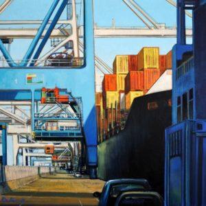 Marie Détrée, Quai du port, 2000, huile sur toile, 73x92cm - VENDU