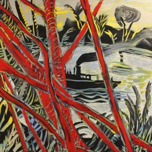 Nicolas VIAL, Paquebot dans la jungle, acrylique sur toile, 100x100cm