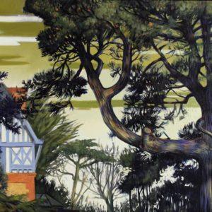 Une villa Normande, huile sur toile, 25 P, 81x60cm