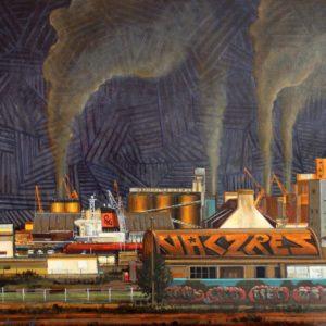 Zone industrielle de Brest, huile sur toile, 100x70cm