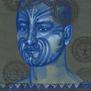 Marquisien tatoué, technique mixte sur papier