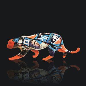 C.MANDALLAZ, Panthère orange Gulf, sculpture en résine, PU, disponible à la Galerie Winston à Dinard