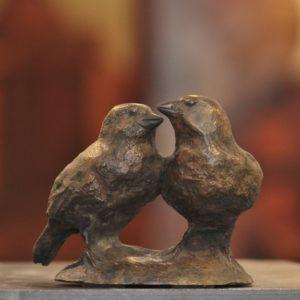 Jean Lemonnier, Couple de moineaux, bronze n°2/8-VENDU