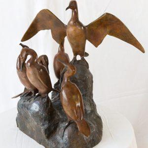 Jean Lemonnier, Rocher aux six cormorans, Bronze n°3/8, Fonderie BBC