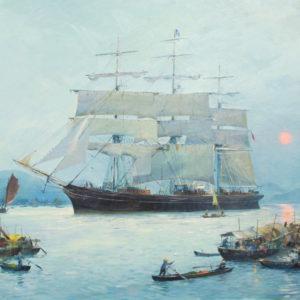 Roger Chapelet, Le Cutty Sark dans la baie d'Along, huile sur toile, 65 x 92 cm - Vendu