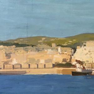 Roger Chapelet, Le port d'Alger, gouache sur panneau, 66 x 190 cm