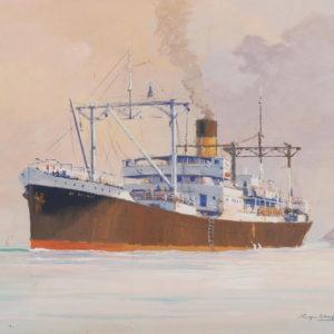Roger Chapelet, Cargo par temps clair, gouache, 47 x 62 cm-Vendu