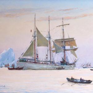 Roger Chapelet, Madiana dans les glaces rappelant ses doris, huile sur toile, 51 x 65 cm-Vendu