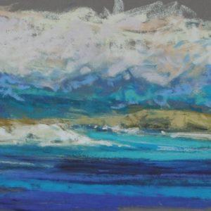 Hervé Louis, Blue sea, pastel, 29x14cm