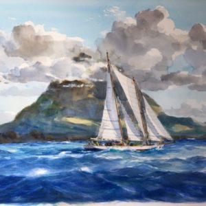 Guy L'Hostis, Goélette travers Montserrat, aquarelle, 73x52cm