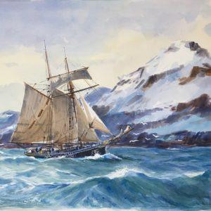 Guy L'Hostis, Goelette sur les côtes d'Islande, aquarelle, 55x38cm