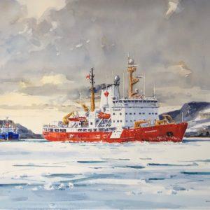 Guy L'Hostis, Le brise-glace Amundsen dans le Saguenay, aquarelle, 55x38cm