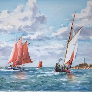 Guy L'Hostis, A tirer des bords dans le Dénou, aquarelle, 65x46cm