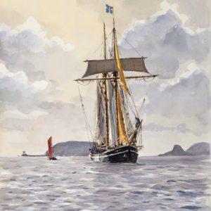Guy L'Hostis, Etoile de France en baie de Paimpol, aquarelle, 46x33cm