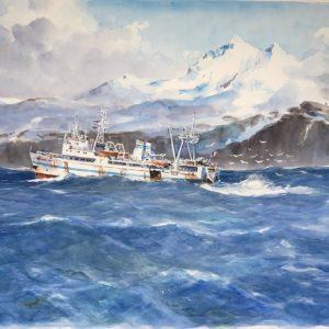 Guy L'Hostis, Austral, en pêche aux Kerguelen, aquarelle, 92x60cm