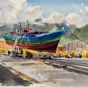 Guy L'Hostis, Boutre en chantier à Port des Galets, aquarelle, 41x33cm